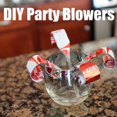 How to make last minute party blowers for New Years eve with drinking straws and leftover wrapping paper.