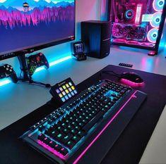 Gaming Desk Setup, Computer Gaming Room, Best Gaming Setup, Gamer Setup, Computer Setup, Pc Setup, Office Setup, Gaming Rooms, Cool Gaming Setups