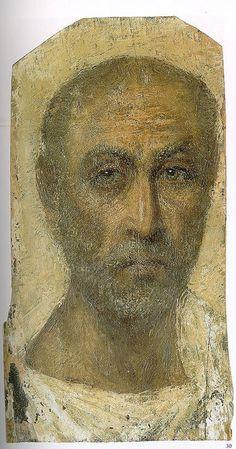 Fayum encaustic mummy portrait (1st century BCE).