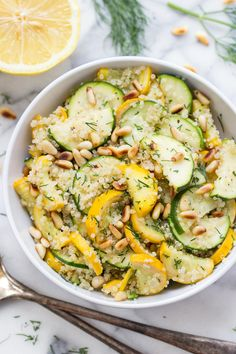 Summer Zucchini Quinoa Salad with warm sauteed vegetables, toasted pine nuts and a dreamy lemon-dill dressing!
