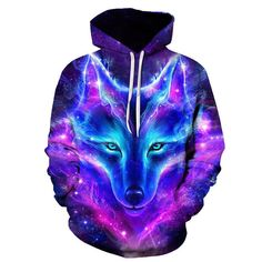 a00e6e9264 Space Galaxy Wolf 3D Print Hoodie Pullover Sweatshirt Jacket Unisex Hooded  Coat  fashion  clothing