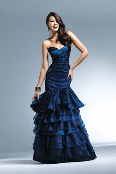 This is my favorite blue. Faviana 6790 Dress Tiered Ruffle Prom Gown