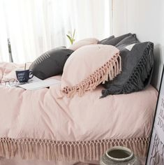 Adriana Blush Tassel Bedding Set | Blush Bedding | Pepperhive.com - PepperHive