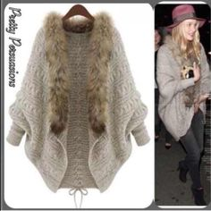 """NWT Faux Fur Trim Open Front Cardigan COMING BACK SOON!! If you'd like one please comment below & you'll be contacted when this is available for purchase. First come, first serve. Limited supply available.   NOTE: This will be listed in my new 2nd closet @persuasions once available. Please like this listing to be notified once it's available.   Size: OSFM  Knit Cardigan Features:  • faux fur trim • braided detailing down the center back • cozy, warm material  Measurements:  Bust: 42"""" Length:..."""