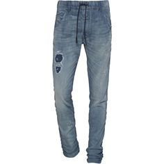 Diesel Krooley Blue // Jogg jeans in used look (22.735 RUB) ❤ liked on Polyvore featuring men's fashion, men's clothing, men's jeans, diesel mens jeans, mens stretch waist jeans, mens destroyed jeans, mens low rise straight leg jeans and mens straight jeans