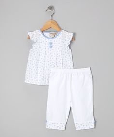 Take a look at this White & Blue Floral Top & Pants - Infant & Toddler by P'tite Môm on #zulily today!