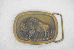 Buffalo Bison Animal Grassland Indiana Metal Craft 1977 Vintage Belt Buckle P97 #IndianaMetalCraft