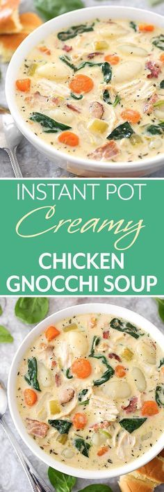 Instant Pot Creamy Chicken Gnocchi Soup is loaded with lots of flavor from herb and spices, garlic, carrots, and bacon. Make this soup in your electric pressure cooker. Crock Pot Recipes, Soup Recipes, Dinner Recipes, Cooking Recipes, Recipies, Dinner Ideas, What's Cooking, Crockpot Meals, Chili Recipes