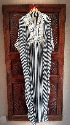 Chiffon striped caftan long maxi dress