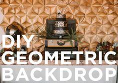 geometric wedding, gold and black wedding, geometric backdrop, diy backdrop, jayne weddings