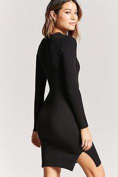 Ribbed Knit Bodycon Midi Dress