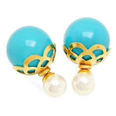 STEELTIME Women's 18K Gold Plated Stainless Steel Pearl Double Sided Earrings with Filigree (White, Blue) >>> Find out more about the great product at the image link.