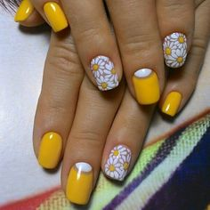 spring nails, flower nail art, floral nail art design, bright color nails nailsart is part of Wedding nails Bridesmaid Round - Wedding nails Bridesmaid Round Yellow Nails Design, Yellow Nail Art, Floral Nail Art, Cute Nail Art Designs, Short Nail Designs, Nail Designs Spring, Floral Designs, Spring Nails, Summer Nails