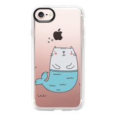 Cat Mermaid - iPhone 7 Case And Cover ($40) ❤ liked on Polyvore featuring accessories, tech accessories, phone cases, iphone case, iphone cover case, clear iphone case, apple iphone case, iphone cases and cat iphone case