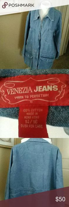 Venezia, jeans jacket Super nice, jeans jacket. Size 14/16, 100% cotton, long  31, wide 25, long sleeve 21. Zipper in the front. Go perfect with a couple of the Jean's that are in my closet for sale, very good condition!! Venezia Jean's Jackets & Coats Jean Jackets