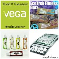 Tried it Tuesday! Win samples of Vega SF Energizer, Hint Mints, The Best Balm and EcoTrek Fitness Bars!