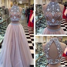 High Neck Crystal Two pieces Sexy Long Prom Dresses Evening Party Ball Gowns New