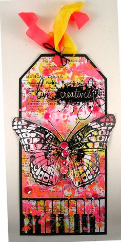 Suzz's Stamping Spot, Imagine Craft, Stampendous, Blog Hop, Butterfly, Neon