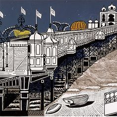 Palace Pier, Brighton by the artist Edward Bawden (1903-1989)
