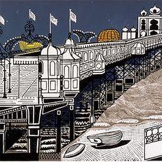 ✦   'palace pier, brighton'  -  edward bawden  linocut