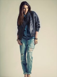 7272f05bb0c7 Young British Designers  The Karen  Blue Leather Padded Bomber Jacket by  HIDE - From