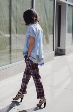 Gorgeous plaid pants and a cute cute to boot!