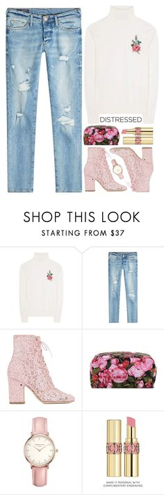 """""""~True Blue: Distressed Denim~"""" by amethyst0818 ❤ liked on Polyvore featuring Gucci, True Religion, Laurence Dacade, Dolce&Gabbana, Topshop, Yves Saint Laurent, bag, polyvoreeditorial, polyvorecontest and PolyPower"""