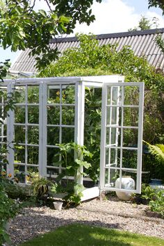 Smukke drivhuse og pavilloner - in Denmark but could as well be in Sweden Small Greenhouse, Greenhouse Plans, Greenhouse Gardening, Outdoor Life, Outdoor Gardens, Gazebo, Garden Tool Storage, Garden Guide, Garden Living