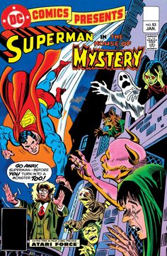 "DC Comics Presents (1978-1986) #53 It's Halloween and people dressed up as superheroes magically and suddenly possess their powers. In order to solve the problem, Superman must enter the House of Mystery in ""The Haunting Dooms of Halloween."""