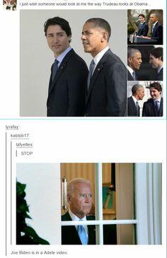 Justin Trudeau, Barack Obama, Joe Biden <--- I laughed so hard. Joe And Obama, Obama And Biden, Funny Cute, The Funny, Hilarious, Justin Trudeau, Tumblr Funny, Funny Memes, Jokes