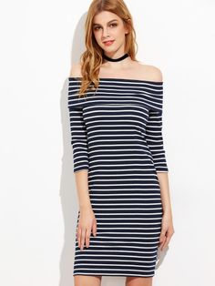 Navy And White Striped Fold Off The Shoulder Ribbed Dress