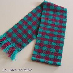 Echarpe rose turquoise, tissée main, pure laine