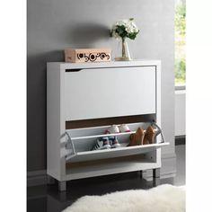 Simms Modern Shoe Cabinet White - Baxton Studio : Target