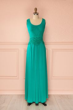 Molley - Maxi embroidered turquoise dress