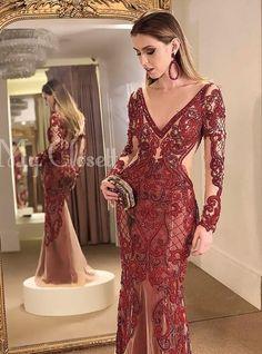 vestido vermelho longo bordado com manga longa Abendkleider Ballkleider Gala Dresses, Event Dresses, Couture Dresses, Bridal Dresses, Casual Dresses, Formal Dresses, Pencil Dress Outfit, Beautiful Evening Gowns, Pretty Prom Dresses
