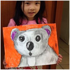 Koala bear in charcoal and oil pastels