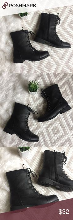 Classic Black Combat Style Boots Rebel Black Combat Boots   Faux leather. Classic military/combat book look. Quality construction! Rubber sole. Zipper closure. 9 inch shaft height (including heel) In like new condition! Size 6. Rebel Shoes Combat & Moto Boots