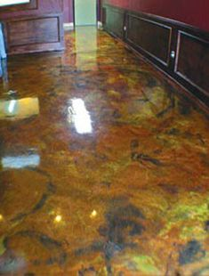 Epoxy coated concrete Rhino Linings Adds Metallic' Epoxy Floor Coatings to Offerings : Durability + Design News TCC might want to consider this for the fellowship hall? Best Flooring, Diy Flooring, Flooring Ideas, Concrete Coatings, Floor Coatings, Metallic Epoxy Floor, Concrete Color, Concrete Staining, Sun