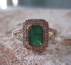 Vintage Natural Emerald Diamond Ring by Studio1040. So. perfect.