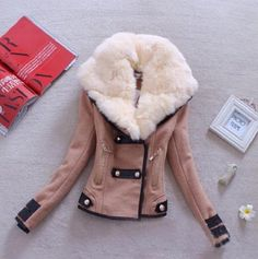 Women Woollen Casual Coat Winter Autumn 2017 Fashion New Brand Plus Size S-XXL Zipper Slim Solid Parka Casaco Feminino -- Shop 4 Xmas n Locate this beautiful piece simply by clicking the image. Fur Collar Jacket, Faux Fur Collar, Hooded Jacket, Winter Jackets Women, Coats For Women, Wool Bomber Jacket, Parka Coat, Suede Jacket, Winter Coat