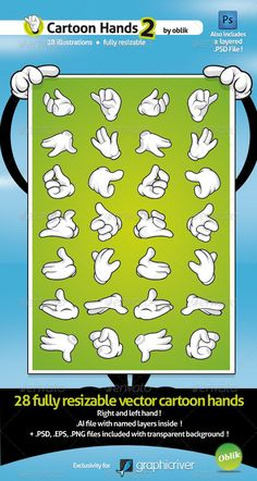 28 vector cartoon hands - Set 2 $4.00