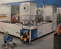 This could almost be a modern IKEA ad.  1960s Modern White Kitchen Vintage Interior Design Photo | Flickr - Photo Sharing!