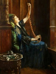 The Amber Necklace:   The Honourable John Maler Collier OBE RP ROI (27 January 1850 – 11 April 1934) was a leading English artist, and an author] He painted in the Pre-Raphaelite style, and was one of the most prominent portrait painters of his generation