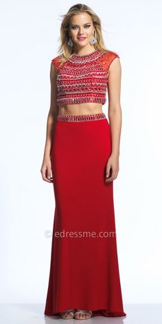 Two Piece Aztec Beaded Prom Dress by Dave and Johnny #edressme