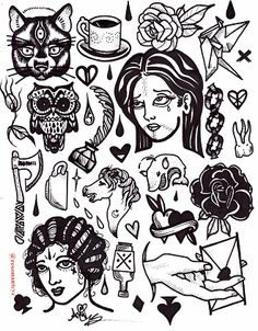 Blackwork tattoo flash done in pen and ink on arches hotpress. 9x12
