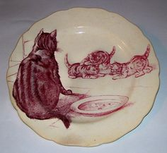 Minton red transferware plate - 'cat  kittens'