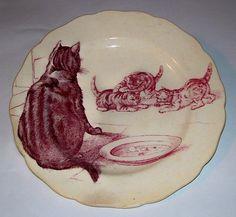 Minton red transferware plate - 'cat & kittens'