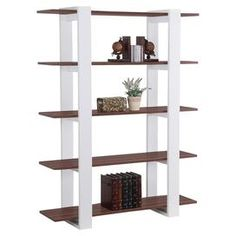 """Five-tier bookcase.Product: Bookcase  Construction Material: Wood, medium fiber board and veneers  Color: White and brown   Features: Five shelves   Open back adds an airy look   Two tone finishes in shelves and frames   ISTA 3A certified     Dimensions: 62"""" H x 47"""" W x 13"""" D       Note:  Assembly required"""