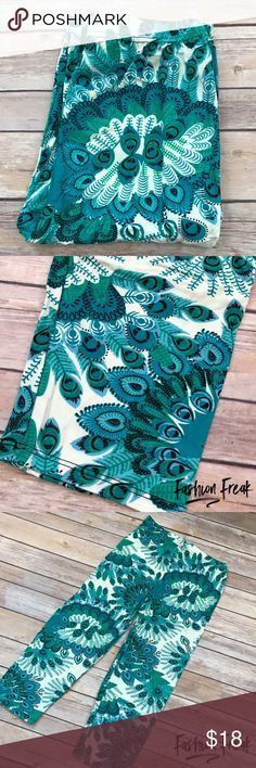 """Teal Peacock Feather CAPRI Legging super soft At Fashion Freak LLC, we call them Super Softies because sons love """"softie"""" pants & the word SUPER. These are going to SELL OUT SUPER FAST. Teal Paisley Peacock Feather Print Brushed Capri Leggings. Paneled elastic waistband. These are ONE SIZE. Shipping in MOST cases is SAME DAY - most of the time I ship twice per day. Similar to LuLaRoe softness. Pants Leggings"""