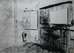 """Amazing drawings, paintings, illustrations from Bilbao based artist Veronica Domingo Alonso at http://www.veronicadomingoalonso.com/ """"Installation drawing Nr 6"""", charcoal on paper, 70 x 100cm, ©Veronica Domingo Alonso"""
